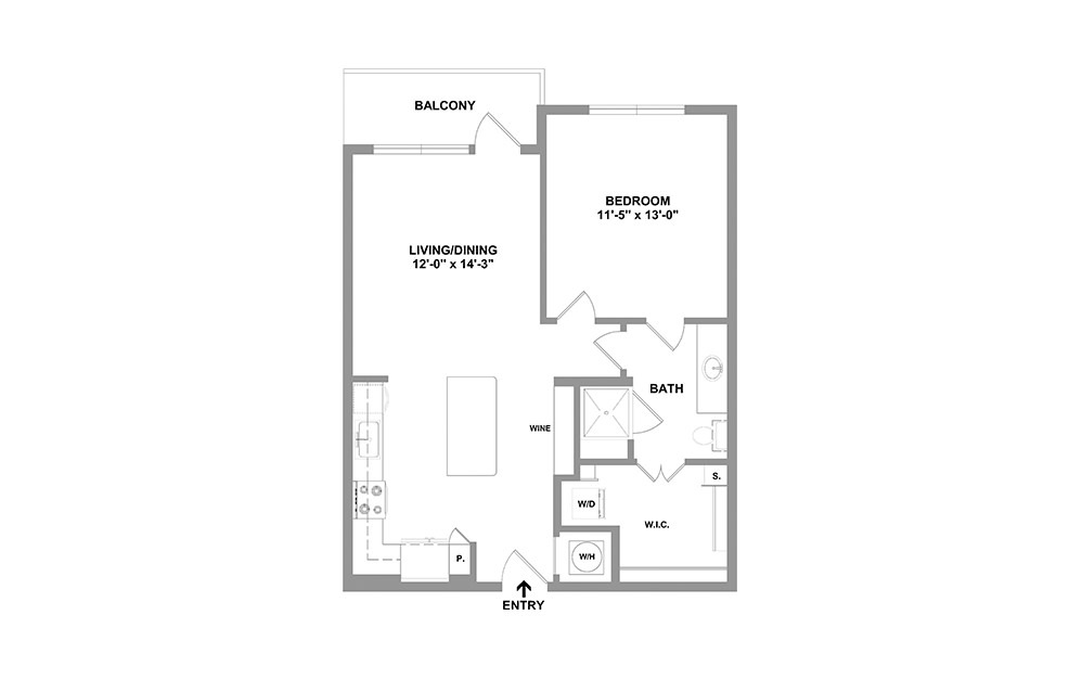 Chrls-744 - 1 bedroom floorplan layout with 1 bath and 744 square feet.
