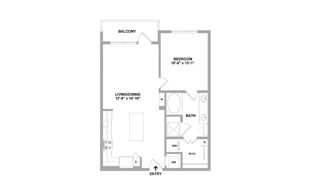 GW-767 - 1 bedroom floorplan layout with 1 bath and 767 square feet.