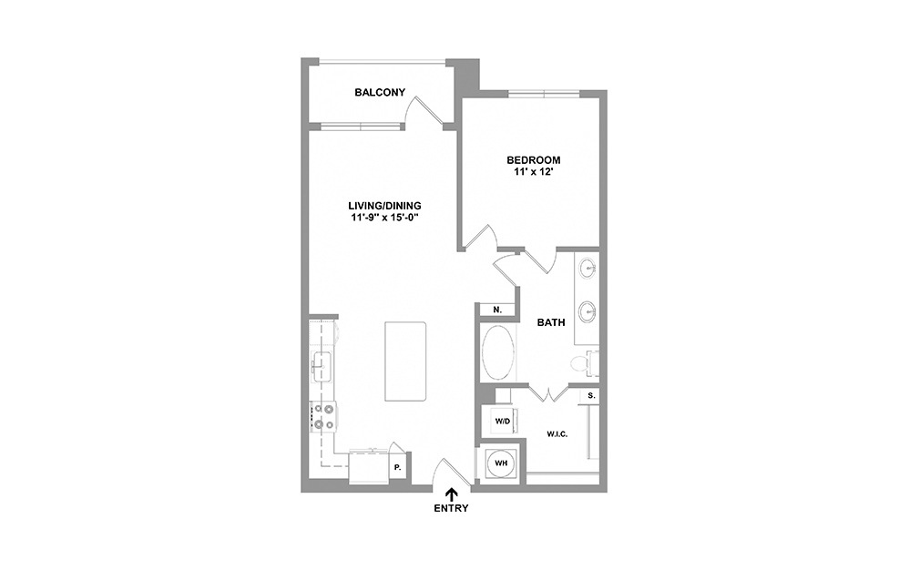 Goldn-738 - 1 bedroom floorplan layout with 1 bath and 738 square feet.
