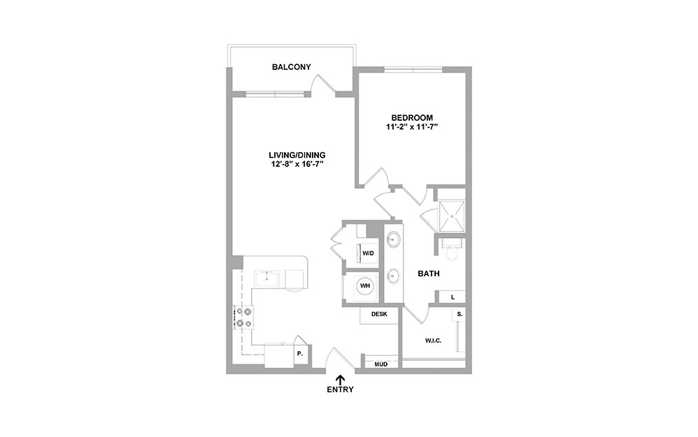 Harbr-780 - 1 bedroom floorplan layout with 1 bath and 780 square feet.