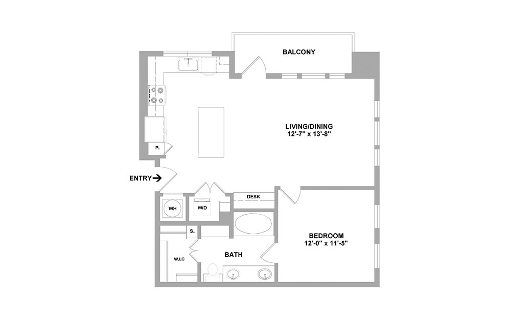 Hudson-796 - 1 bedroom floorplan layout with 1 bath and 796 square feet.