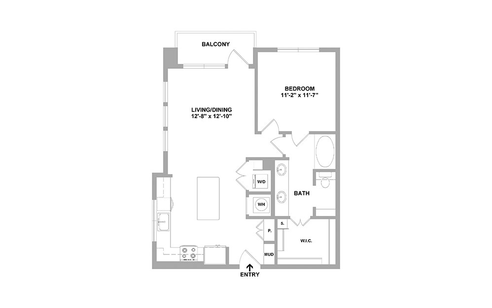 Key-801 - 1 bedroom floorplan layout with 1 bath and 801 square feet.
