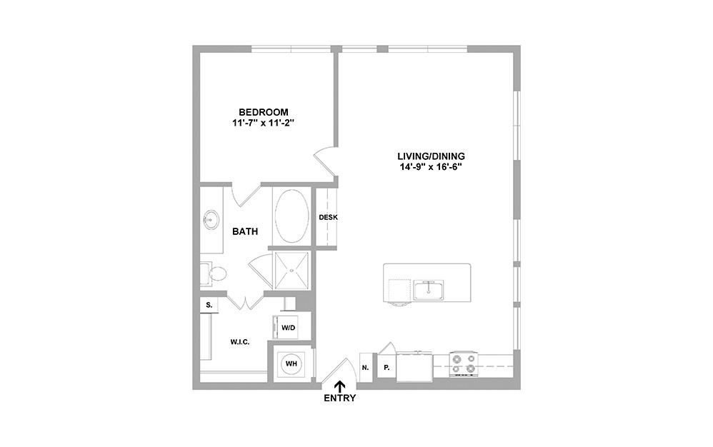 Lcln-826 - 1 bedroom floorplan layout with 1 bath and 826 square feet.