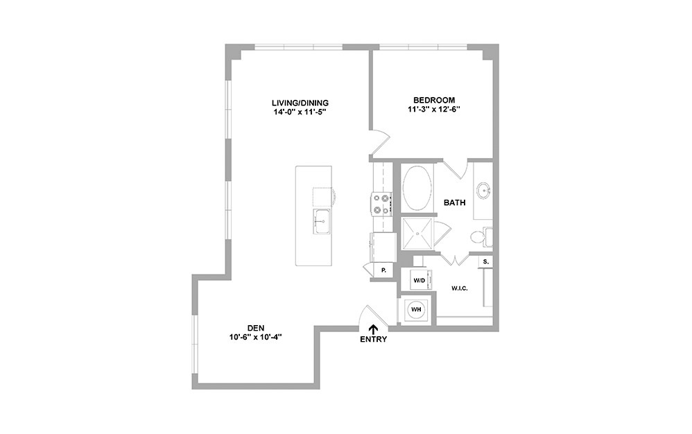 Lndn-923 - 1 bedroom floorplan layout with 1 bath and 923 square feet.