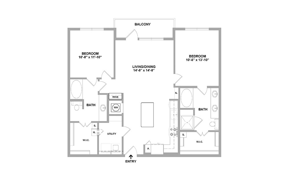 Oknd-1180 - 2 bedroom floorplan layout with 2 baths and 1180 square feet.