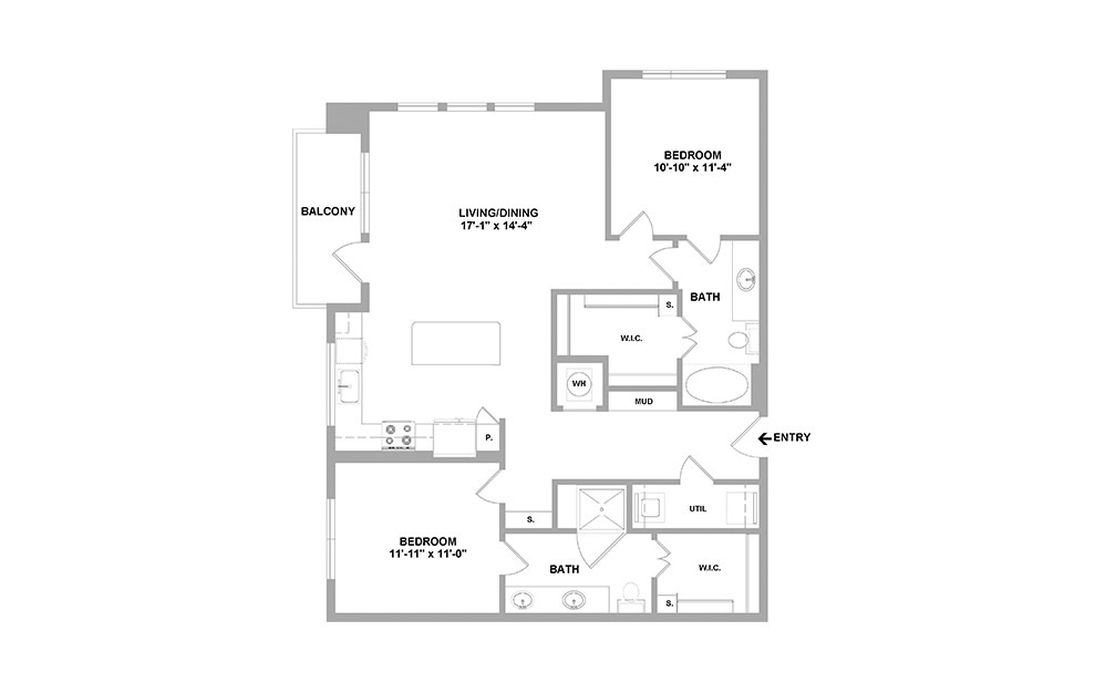 Pte-1193 - 2 bedroom floorplan layout with 2 baths and 1193 square feet.