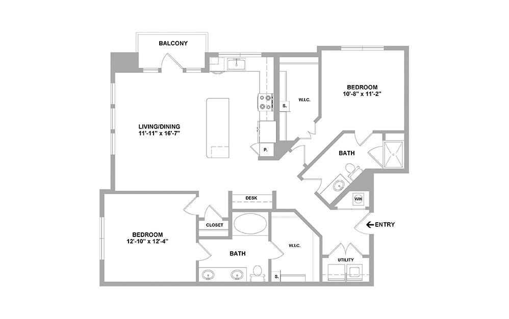 Rvrsd-1289 - 2 bedroom floorplan layout with 2 baths and 1289 square feet.