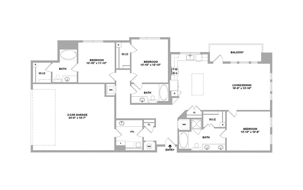 Sdny-1622 - 3 bedroom floorplan layout with 3 baths and 1622 square feet.