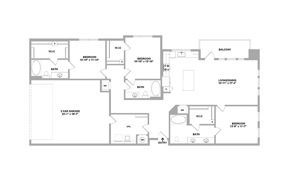 Sd1626ANSI - 3 bedroom floorplan layout with 3 baths and 1626 square feet.
