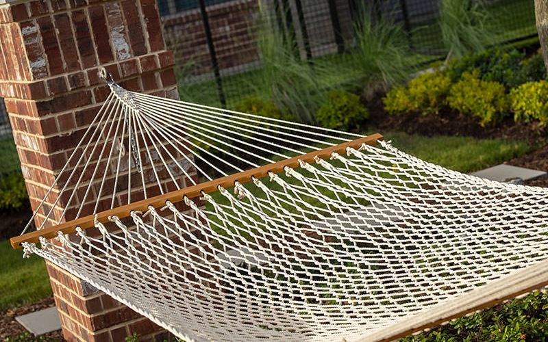 hammock outside surrounded by peaceful greenery